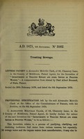 view Specification of Alexander Melville Clark : treating sewage.