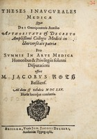 view Theses inaugurales medicae ... / offert Jacobus Roth.