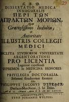 view Dissertatio medica inauguralis peri ton aprakton morion ... / solemni eruditorum examini sistit Phillippus Jacobus Vinther.