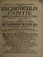 view Dissertatio inauguralis medica de excerniculis capitis : recentioribus inventis anatomicis illustrata ...