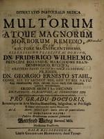 view Dissertatio inauguralis medica de multorum atque magnorum morborum remedio ... / submittit Gottfried Viebeg.