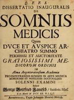 view Dissertatio inauguralis de somniis medicis ...