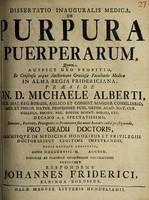 view Dissertatio inauguralis medica, de purpura puerperarum ... / [Johann Friderici].