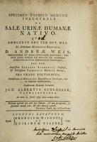 view Specimen chemico medicum inaugurale de sale urinae humanae nativo ...