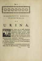 view Dissertatio medica inauguralis, de urina ...