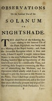 view Observations on the internal use of the Solanum or nightshade / By Thomas Gataker.