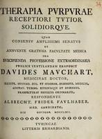 view Therapia purpurae receptiori tutior solidiorque ... / respondente Albrecht. Frider. Faulhaber.