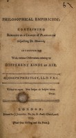 view Philosophical empiricism : containing remarks on a charge of plagiarism respecting Dr. H----s, interspersed with various observations relating to different kinds of air / by Joseph Priestley.