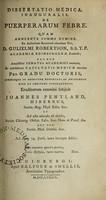 view Dissertatio medica, inauguralis, de puerperarum febre ... / Eruditorum examini subjicit Joannes Pentland, Hibernus.