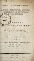 view Dissertatio inauguralis medica de hactenus praetervisa nervorum lustratione in sectionibus hydrophoborum / auctor Joannes Ludovicus Fridericus Metzger.