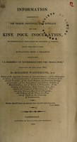 view Information respecting the origin, progress, and efficacy of the kine pock inoculation, in effectually and forever securing a person from the small-pox