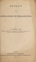 view Oxygen and its applications to therapeutics
