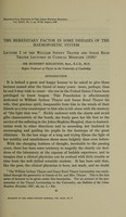 view The William Sydney Thayer and Susan Read Thayer lectures in clinical medicine : Lecture 1, The hereditary factor in some diseases of the haemopoietic system. Lecture 2, Some diseases in the Jewish race / by Sir Humphry Rolleston Bart., K.C.B., M.D., Regius Professor of Physic in the University of Cambridge.