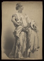 view A young woman standing. Lithograph attributed to B.-R. Julien, 18--.