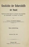 """view Geschichte der Geburtshülfe der Neuzeit : zugleich als dritter Band des """"Versuches einer Geschichte der Geburtshülfe"""" von Eduard von Siebold / von Rudolf Dohrn."""