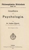view Grundlinien der Psychologie / Stephan Witasek.