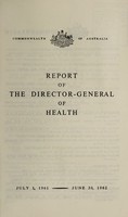 view Report of the Director-General of Health / Commonwealth of Australia.