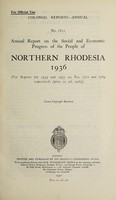 view Annual report on the social and economic progress of the people of Northern Rhodesia.