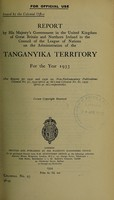 view Report by His Majesty's Government in the United Kingdom of Great Britain and Northern Ireland to the Council of the League of Nations on the administration of the Tanganyika Territory