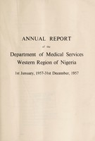 view Annual report of the Medical Department of the Western Region of Nigeria.