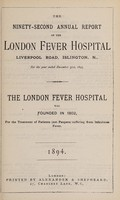 view Report of the London Fever Hospital, Liverpool Road, Islington, for the year ending 31st December 1893.