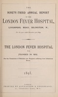 view Report of the London Fever Hospital, Liverpool Road, Islington, for the year ending 31st December 1894.