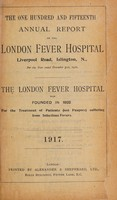 view Report of the London Fever Hospital, Liverpool Road, Islington, for the year ending 31st December 1916.
