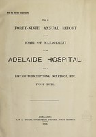 view Annual report of the Board of Management of Adelaide Hospital with a list of subscriptions, donations, etc : 1918.