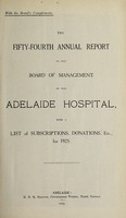 view Annual report of the Board of Management of Adelaide Hospital with a list of subscriptions, donations, etc : 1923.