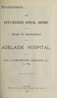 view Annual report of the Board of Management of Adelaide Hospital with a list of subscriptions, donations, etc : 1926.