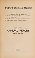 view Annual report : 1940 / Bradford Children's Hospital.