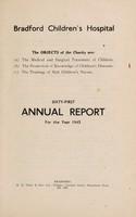 view Annual report : 1943 / Bradford Children's Hospital.