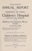 view Annual report of the Birkenhead and Wirral Children's Hospital ... and the Kielberg Convalescent Home : 1936.