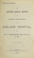 view Annual report of the Board of Management of Adelaide Hospital with a list of subscriptions, donations, etc : 1929.
