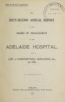 view Annual report of the Board of Management of Adelaide Hospital with a list of subscriptions, donations, etc : 1931.