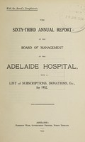 view Annual report of the Board of Management of Adelaide Hospital with a list of subscriptions, donations, etc : 1932.