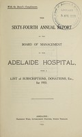 view Annual report of the Board of Management of Adelaide Hospital with a list of subscriptions, donations, etc : 1933.