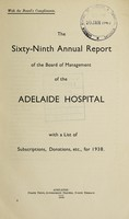 view Annual report of the Board of Management of Adelaide Hospital with a list of subscriptions, donations, etc : 1938.