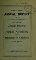 view Annual report of the Market Harborough and District Cottage Hospital and Nursing Association : 1927.