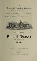 view Annual report : 1927 / Liverpool Stanley Hospital.