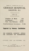 view Report : 1932 / German Hospital.