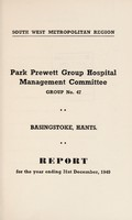 view Report : 1949 / Park Prewett Group Hospital Management Committee.