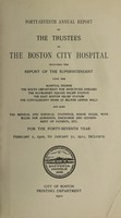 view Report of the trustees of the City Hospital, Boston : 1910/11.