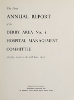 view Annual report of the Derby Area Hospital Management Committee : 1948-49.