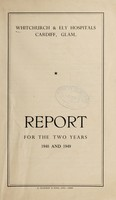 view Annual report of the Whitchurch and Ely Hospital Management Committee : 1948/49.