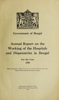 view Annual report on the working of the hospitals and dispensaries in Bengal : 1939