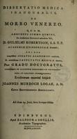 view Dissertatio medica inauguralis, de morbo venereo ... / [John Murdoch Logan].
