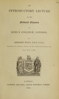 view An introductory lecture to the medical classes in King's College, London ... Read, October 1, 1834