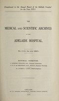 view The Medical and scientific archives of the Adelaide Hospital. no. 5 (for the year 1925)