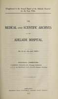 view The Medical and scientific archives of the Adelaide Hospital. no. 6 (for the year 1926.)